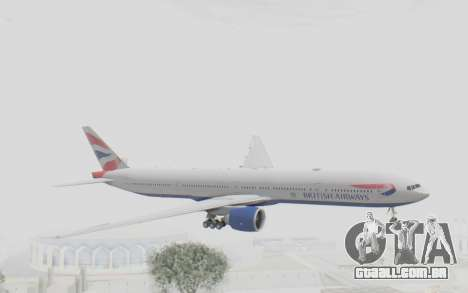 Boeing 777-300ER British Airways para GTA San Andreas traseira esquerda vista