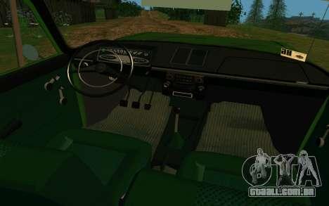 IZH-412 Combi para GTA San Andreas vista interior