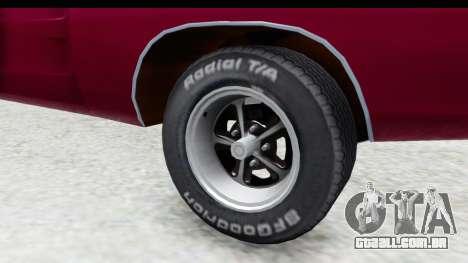 Dodge Charger 1969 Racing para GTA San Andreas vista traseira