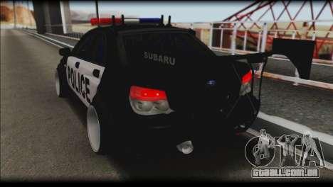 Subaru Impreza WRX STi Police Drift para GTA San Andreas esquerda vista