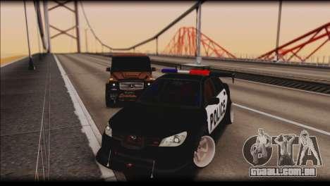 Subaru Impreza WRX STi Police Drift para GTA San Andreas vista traseira
