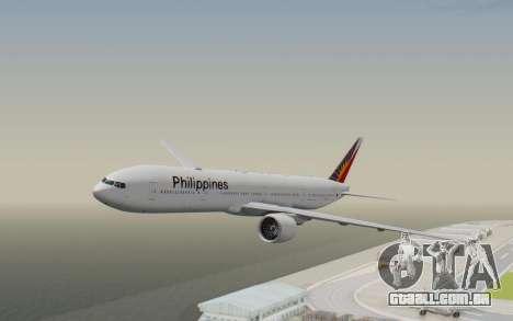 Boeing 777-300ER Philippine Airlines para GTA San Andreas traseira esquerda vista