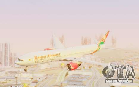 Boeing 777-300ER Kenya Airways para GTA San Andreas traseira esquerda vista