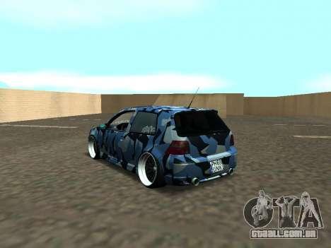 Volkswagen Golf MK4 R32 Postura para GTA San Andreas traseira esquerda vista