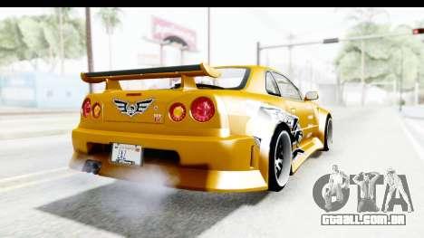 NFSU Eddie Nissan Skyline para GTA San Andreas traseira esquerda vista