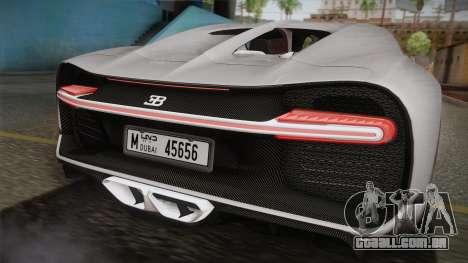 Bugatti Chiron 2017 v2.0 Dubai Plate para GTA San Andreas traseira esquerda vista