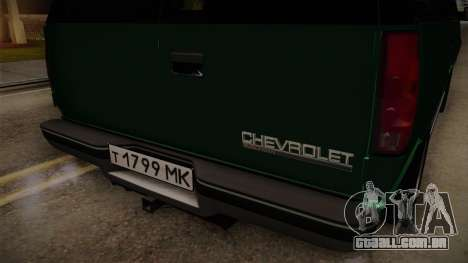 Chevrolet Suburban GMT400 1998 para GTA San Andreas vista interior