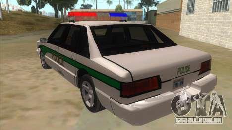 1992 Declasse Premier Angel Pine PD para GTA San Andreas traseira esquerda vista