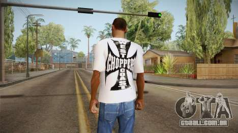 T-shirt branca com a marca W. C. Helicópteros para GTA San Andreas