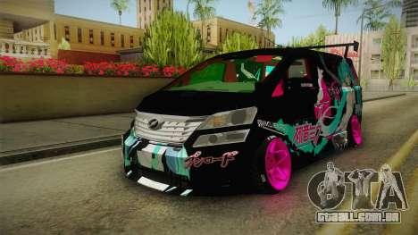 Toyota Vellfire - Miku Hatsune Itasha para GTA San Andreas