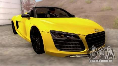 Audi R8 Spyder 5.2 V10 Plus para GTA San Andreas