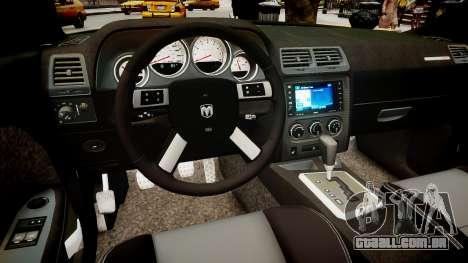 Dodge Challenger SRT8 2010 para GTA 4 vista interior