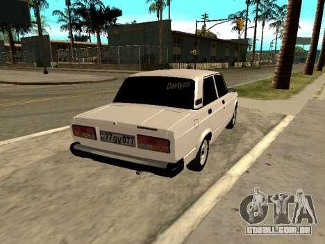 VAZ 2107 Armenian para GTA San Andreas traseira esquerda vista