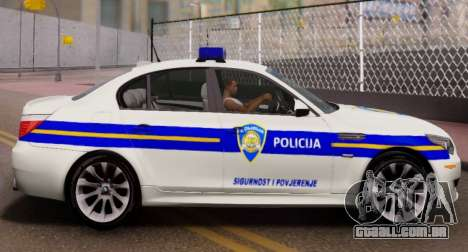 BMW M5 Croatian Police Car para GTA San Andreas esquerda vista