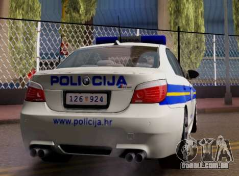 BMW M5 Croatian Police Car para GTA San Andreas vista direita