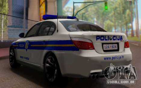 BMW M5 Croatian Police Car para GTA San Andreas vista interior