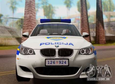 BMW M5 Croatian Police Car para GTA San Andreas vista superior