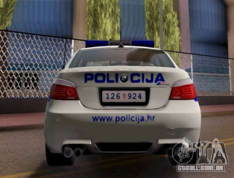 BMW M5 Croatian Police Car para GTA San Andreas vista traseira