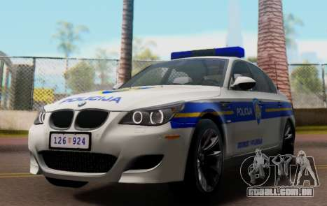 BMW M5 Croatian Police Car para vista lateral GTA San Andreas