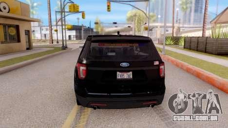 Ford Explorer FBI para GTA San Andreas traseira esquerda vista