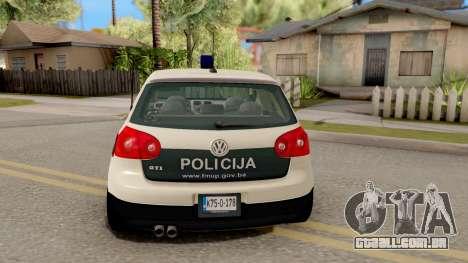 Volkswagen Golf V BIH Police Car V2 para GTA San Andreas traseira esquerda vista