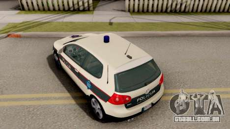 Volkswagen Golf V BIH Police Car V2 para GTA San Andreas vista traseira