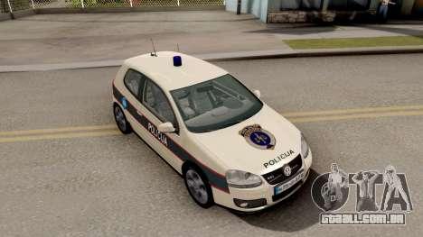 Volkswagen Golf V BIH Police Car V2 para GTA San Andreas vista direita