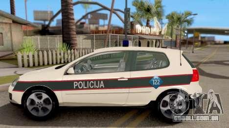 Volkswagen Golf V BIH Police Car V2 para GTA San Andreas esquerda vista