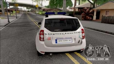 Renault Duster Spanish Police para GTA San Andreas traseira esquerda vista