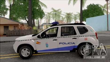 Renault Duster Spanish Police para GTA San Andreas esquerda vista