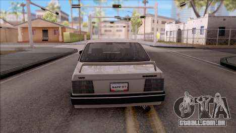 Chevrolet Chevette SLE 88 para GTA San Andreas traseira esquerda vista