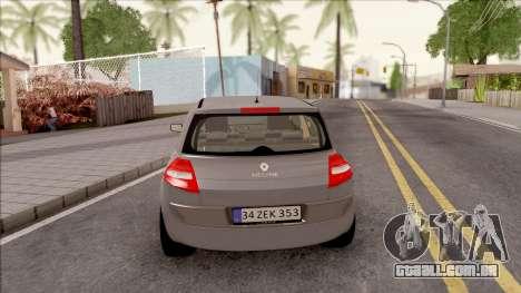 Renault Megane 2 HB Privilege para GTA San Andreas traseira esquerda vista
