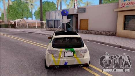 Subaru Impreza Google Street View Car para GTA San Andreas traseira esquerda vista