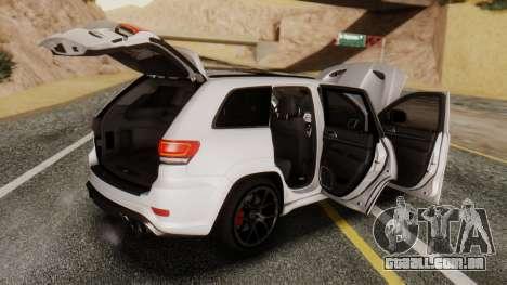 Jeep SRT 8 TrackHawk para GTA San Andreas vista direita