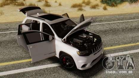 Jeep SRT 8 TrackHawk para GTA San Andreas traseira esquerda vista