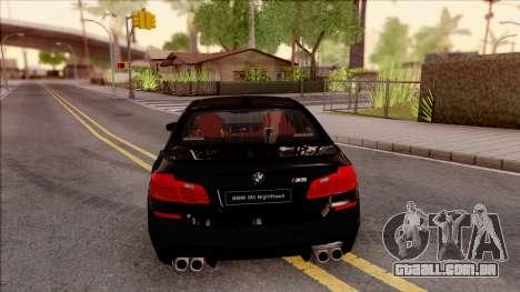 BMW M5 F10 Nighthawk para GTA San Andreas traseira esquerda vista