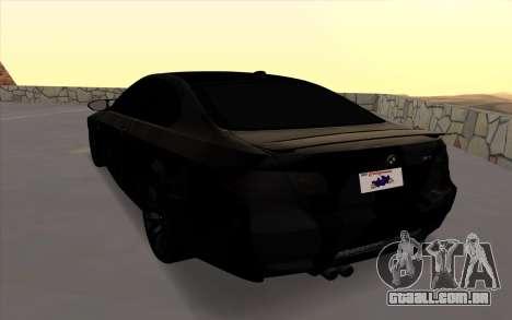BMW M3 E92 GTR Black Camo para GTA San Andreas traseira esquerda vista