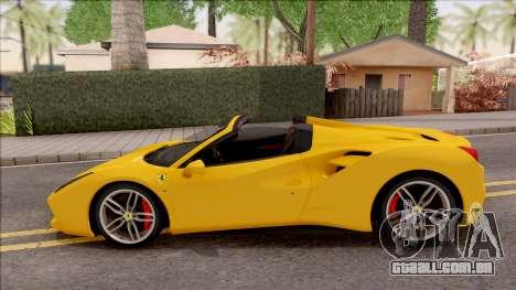 Ferrari 488 Spider 2016 para GTA San Andreas esquerda vista
