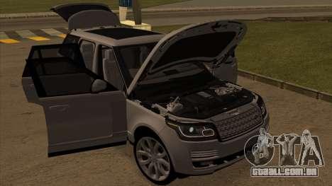 Land Rover Range Rover Vogue para GTA San Andreas traseira esquerda vista