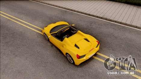 Ferrari 488 Spider 2016 para GTA San Andreas vista traseira