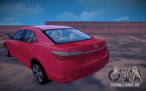 Toyota Corolla 2018 para GTA San Andreas traseira esquerda vista