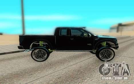 Ford 150 Raptor 2012 para GTA San Andreas esquerda vista
