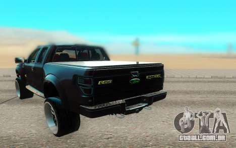 Ford 150 Raptor 2012 para GTA San Andreas vista traseira