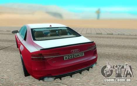Audi S8 TMT para GTA San Andreas traseira esquerda vista
