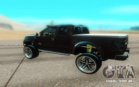 Ford 150 Raptor 2012 para GTA San Andreas traseira esquerda vista