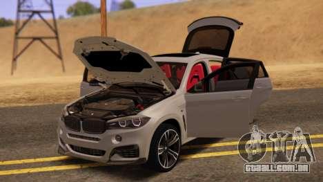 BMW X6 50D para GTA San Andreas traseira esquerda vista