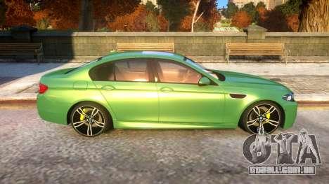 BMW M5-series F10 Azerbaijan style para GTA 4 vista de volta