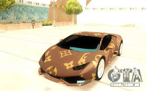 Lamborghini Huracan para GTA San Andreas vista traseira