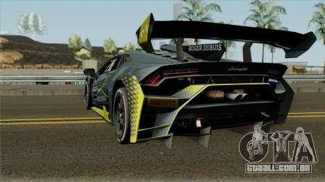Lamborghini Huracan Super Trofeo EVO 2018 para GTA San Andreas traseira esquerda vista