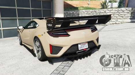 GTA 5 Acura NSX 2017 [replace] traseira vista lateral esquerda